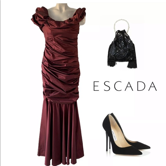 Escada Dresses & Skirts - ESCADA GERDRUD PORT RUCHED OFF SHOULDER DRESS